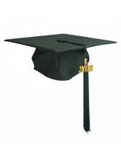 Matte Adult Graduation Cap with Tassel- Forest Green