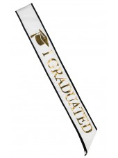 "Adult ""I Graduated"" Graduation Sash - White/Gold"