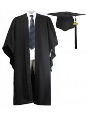 UK Fluted Bachelor Graduation Gown + US Cap