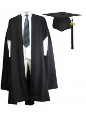 UK Fluted Master Graduation Gown + US Style Cap