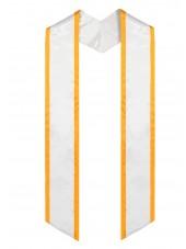 graduation stole-white-gold