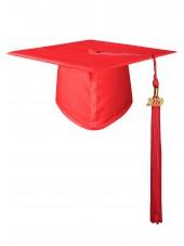 High School Matte Adult Graduation Cap with Tassel- Red