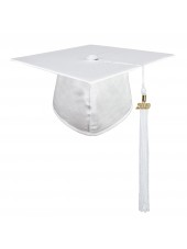 White Adult Graduation Cap With Hard Board