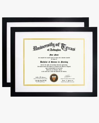 "Certificate Diploma Frame Black with High Definition Glass, Pack of 2 - 8.5'' x 11'' / 11"" x 14"" / A4 Size"