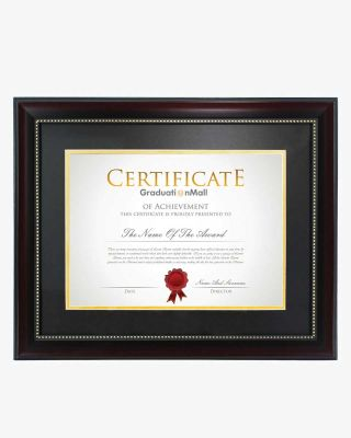"""Certificate Document Frame with Black Gold Double Mat - 8.5""""*11""""/11""""*14"""""""