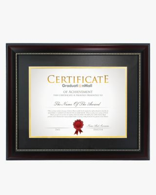 "Certificate Document Frame with Black Gold Double Mat - 8.5""*11""/11""*14"""