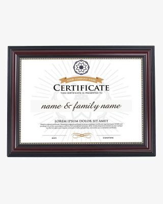 Certificate Document Frame Mahogany with Gold Beaded - 8 1/2'' x 11'' / A4 Size