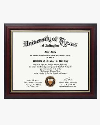 """Graduation Certificate Cherry Real Wood Frame with Gold Trim - 8.5""""*11"""
