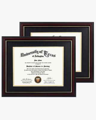 """Graduation Certificate Documents Cherry Real Wood with Gold Trim & Black Mat Pack of 2 - 8.5""""*11""""/11""""*14"""""""