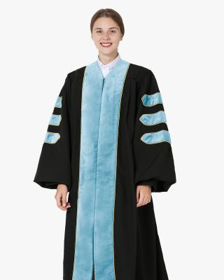 Deluxe Doctoral Academic Gowns - Light Blue with Gold Piping