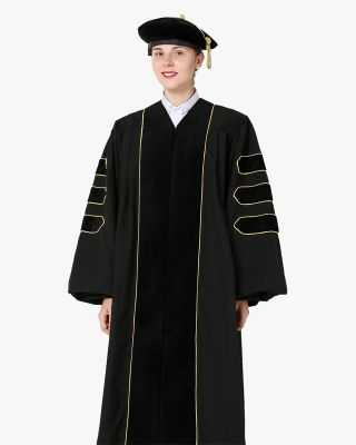 Deluxe Doctoral Gown Tam  - Black Trim with Gold Piping