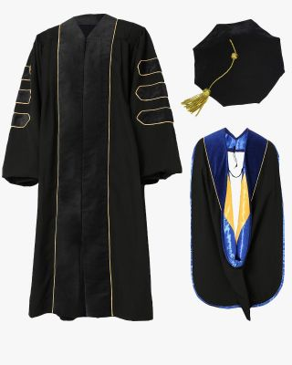 Deluxe Doctoral Tam, Gown & Hood Package - Black