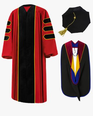 Custom Deluxe Doctoral Gown, Tam & Hood Package