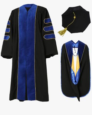 Deluxe Doctoral Tam, Gown & Hood Package - Phd Blue