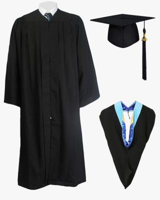 Deluxe fluted Bachelor Graduation Cap Gown Hood Package