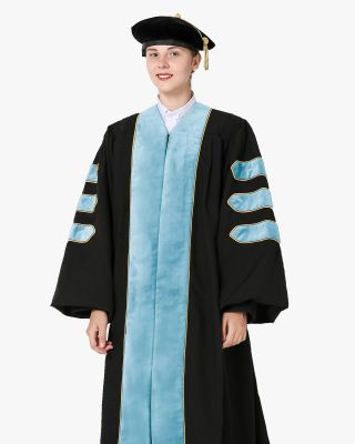 Deluxe Doctoral Gown Tam - Light Blue Trim with Gold Piping