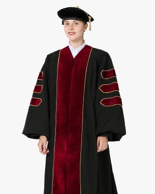 Deluxe Doctoral Gown Tam - Scarlet Trim with Gold Piping