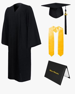 High School Premium Matte Graduation Cap, Gown, Stole & Imprinted Diploma Cover Package