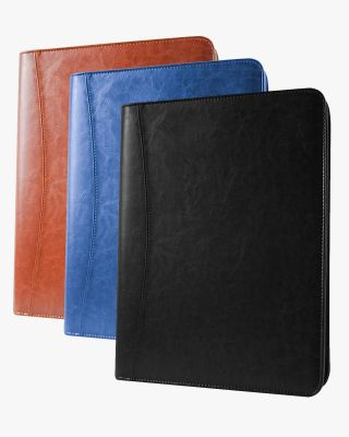 Multifunctional Business Zippered Portfolio Padfolio PU Leather Folder with A4 Size - 3 Colors Available
