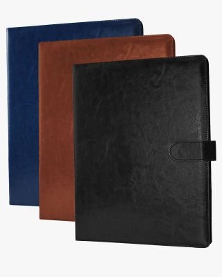 Multifunctional Business Magnetic Portfolio Padfolio PU Leather Folder with A4 Size - 3 Colors Available