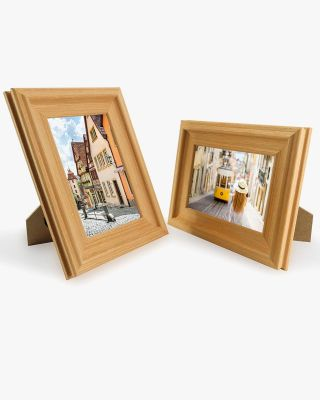 Oak Wood Photo Frames with Real Glass Pack of 2 - 4 Sizes Available