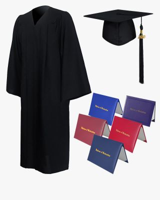 High School Premium Matte Graduation Cap, Gown, Tassel & Imprinted Diploma Cover Package