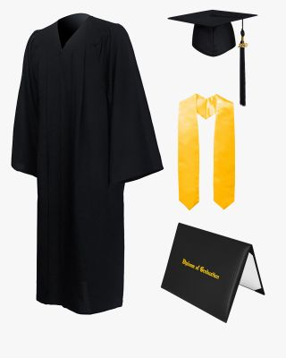 Premium Matte Graduation Cap, Gown, Stole & Imprinted Diploma Cover Package