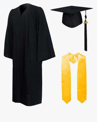 High School Premium Matte Graduation Cap, Gown, Tassel & Stole Package