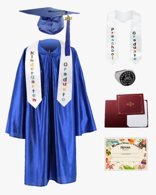 Shiny Kindergarten Graduation Cap, Gown, Stole, Diploma, Diploma Cover & Class Ring Package