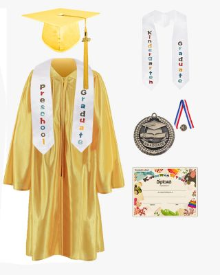 Shiny Kindergarten Graduation Cap, Gown, Stole, Diploma & Medal Package