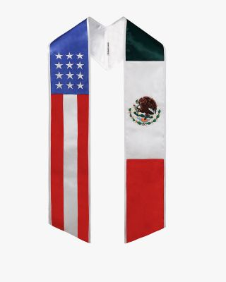 Mixed Flag Graduation Stole Embroidery Sash for Study Aboard Students-USA / Mexico