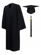 Economy Bachelor Graduation Gown Cap Tassel Package -Black