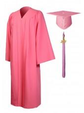 Economy Bachelor Graduation Gown Cap Tassel Package -Pink