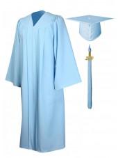 Economy Bachelor Graduation Gown Cap Tassel Package -Skyblue