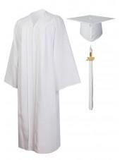 Economy Bachelor Graduation Gown Cap Tassel Package -White
