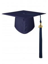 High School and Bachelor Matte Adult Graduation Cap with Tassel -Navy Blue