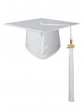 High School Matte Adult Graduation Cap with Tassel-White