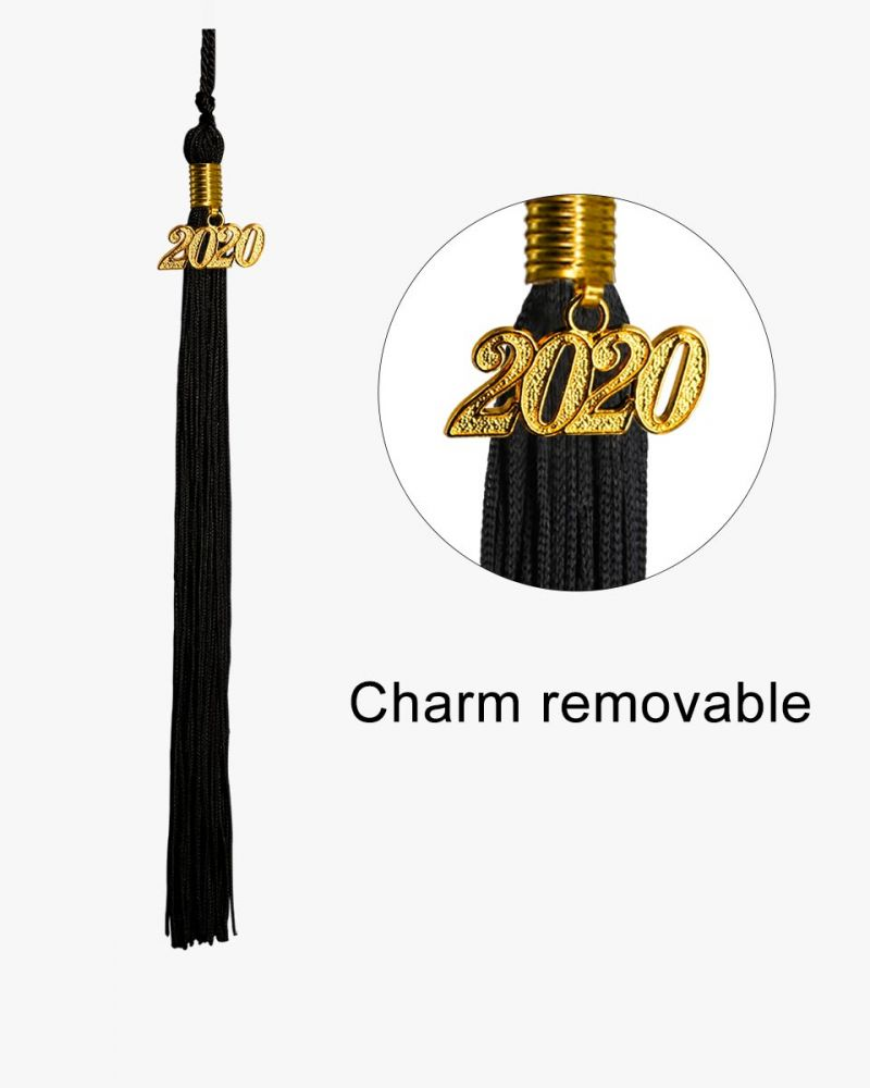 GraduationMall Unisex Adult Matte Graduation Cap Black with 2019 Tassel and extr