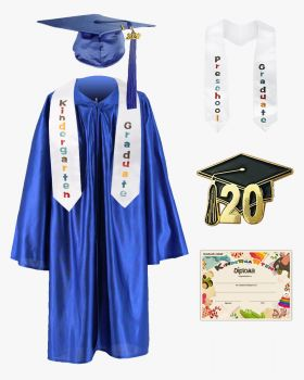 Shiny Kindergarten Graduation Cap, Gown, Stole, Diploma & Pin Package