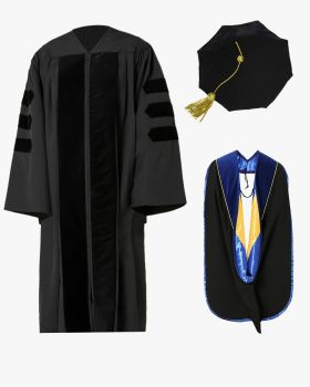 Classic Doctoral Graduation Gown, Tam & Hood Package