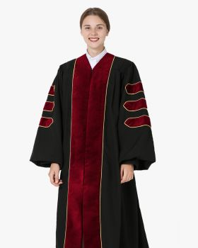 Deluxe Doctoral Academic Gown Only - Scarlet with Gold Piping