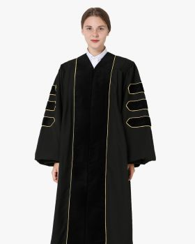 Deluxe Doctoral Academic Gown Only - Black with Gold Piping