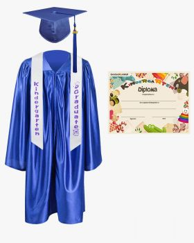 Shiny Kindergarten Graduation Cap, Gown, Stole & Diploma Package
