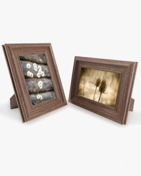 Brown Wood Photo Frames with Real Glass Pack of 2 - 4 Sizes Available