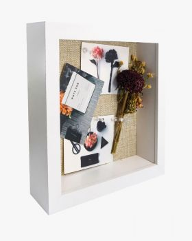 White Shadow Box Frame Wood Display Case with Linen Back in 3 Sizes