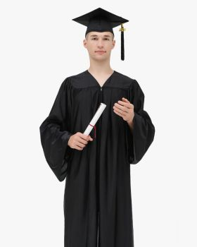 High School Economy Shiny Graduation Cap,Gown & Tassel Package - 12 Colors Available