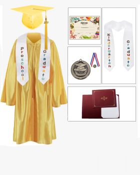 Shiny Kindergarten Graduation Cap, Gown, Stole, Diploma, Diploma Cover & Medal Package