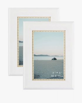 White Picture Frame,Photo Display with Gold Beading,pack of 2 - 3 Sizes Available