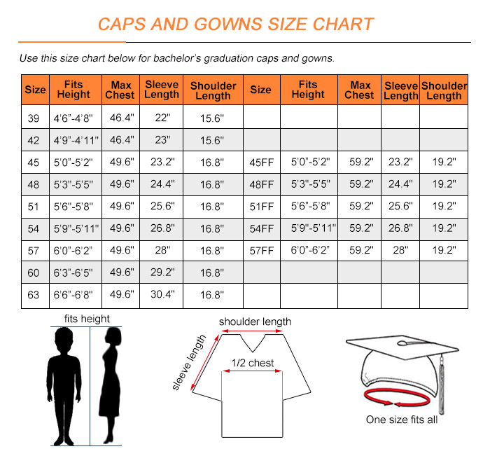 Cap and Gown Size Chart
